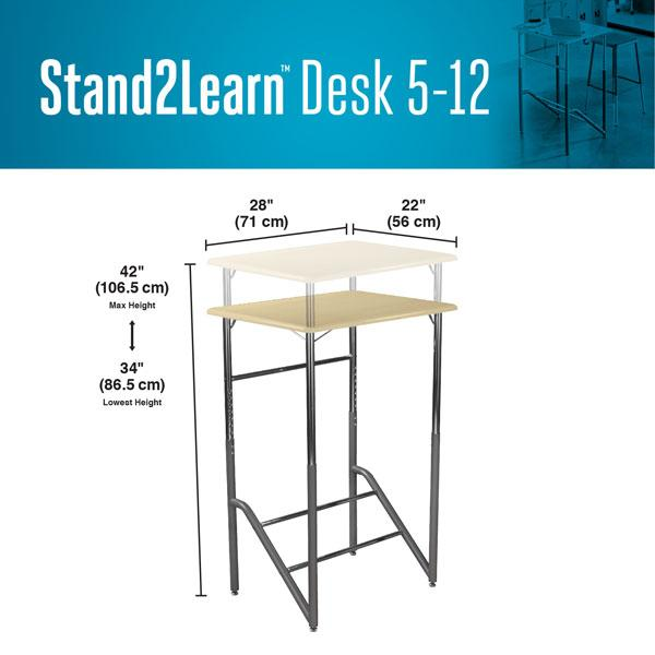 Product dimensions Stand2Learn Desk 5-12 VARIDESK Education Fitneff Canada