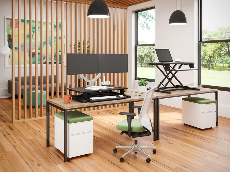 ESI S2S Sit Stand Desk Converter by Fitneff Canada, Office Lifestyle Photo