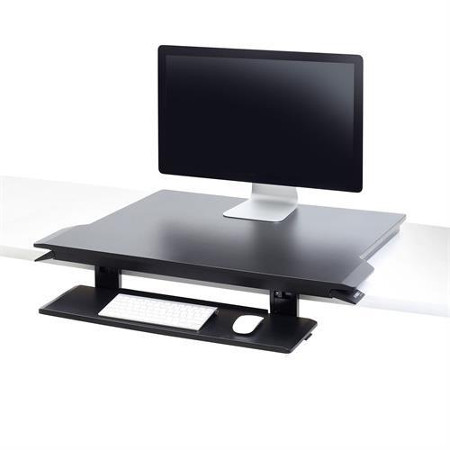 Height-adjustable sit-stand desk with tilting keyboard tray from Active Goods Canada