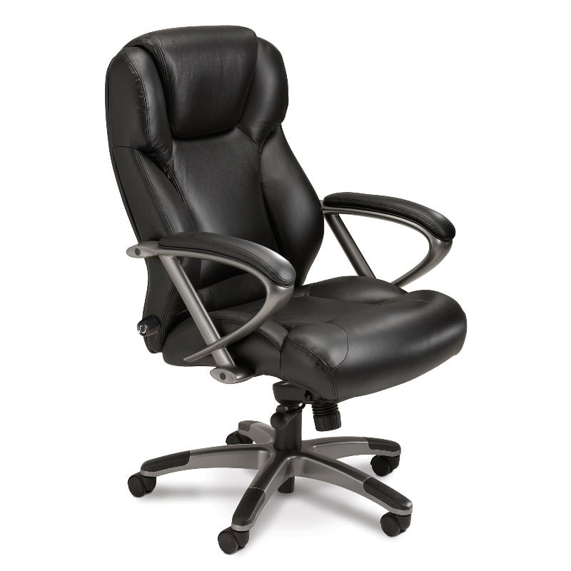 Safco Ultimo™ 300 Series High-Back Leather Chair UL350HBLK Executive Chair Lumbar Support Black Chair