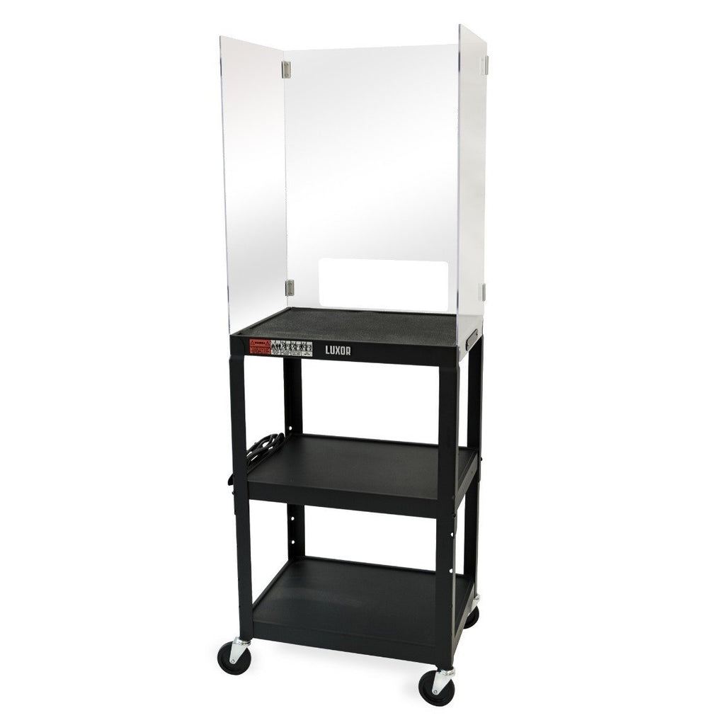 Luxor DIVAVJ42 Adjustable-Height Steel Media Cart with Clear Acrylic Sneeze Guard Space Divider from Active Goods Canada. teacher cart, teacher rolling cart, mobile teacher cart, traveling teacher cart, teacher cart with wheels