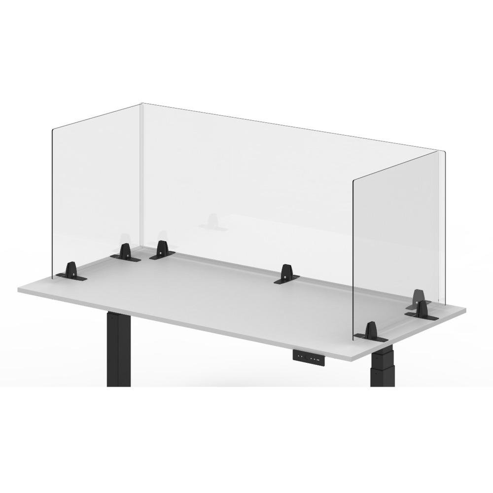 Luxor RECLAIM Acrylic Sneeze Guard Desk Divider – Freestanding