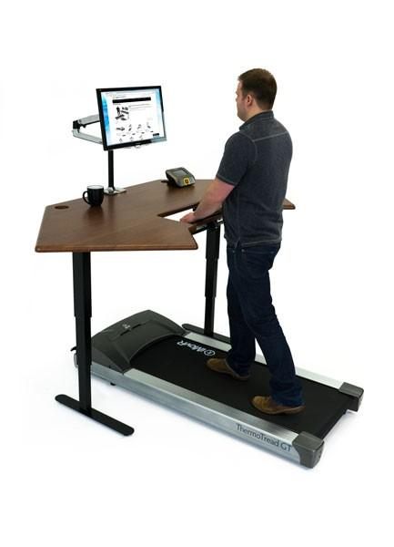 Cascade Corner Standing Desk with the Thermo GT Treadmill