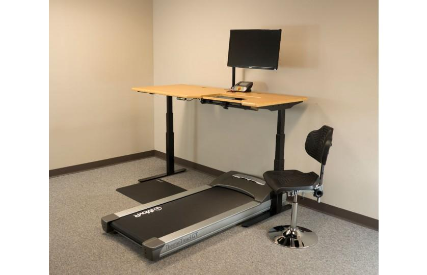 Tempo TreadTop Office Chair by iMovR beside treadmill with desk from Active Goods Canada