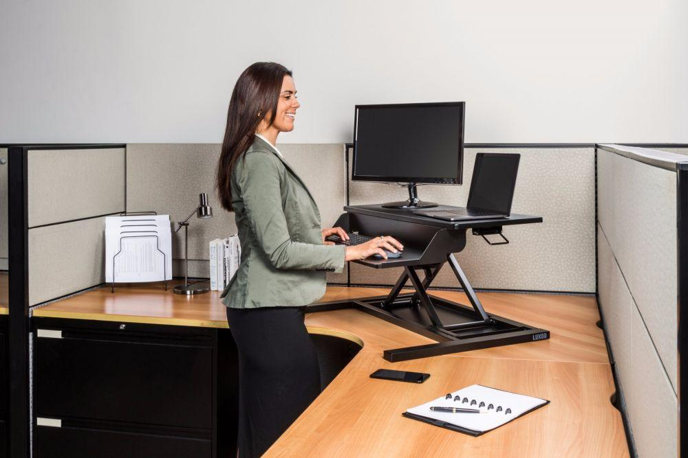 LUXOR desktop converter standing desk in office from Active Goods Canada