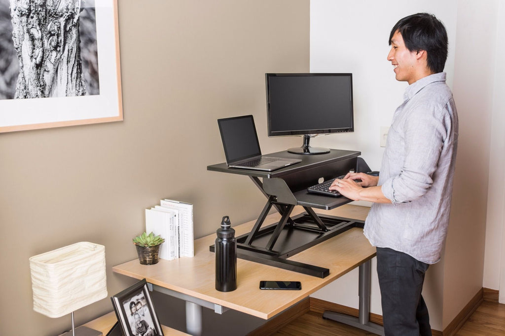 LUXOR Level Up 32 Pro Standing Desk Converter in home office from Active Goods Canada