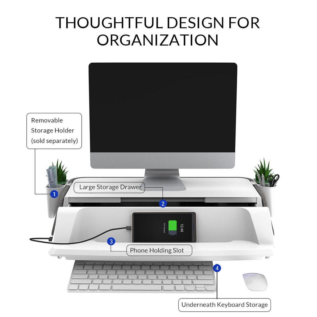 FlexiSpot MonitorStand Workstation thoughtful design for organization from Active Goods Canada