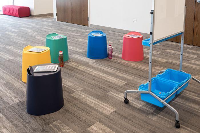 Luxor TailFin Plastic Stackable Stools from Active Goods Canada in classroom setting