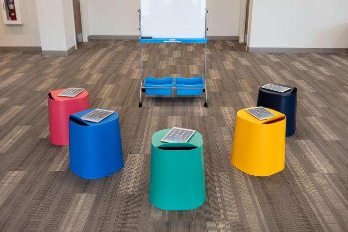 Luxor TailFin Plastic Stackable Stools from Fitneff Canada in active classroom setting
