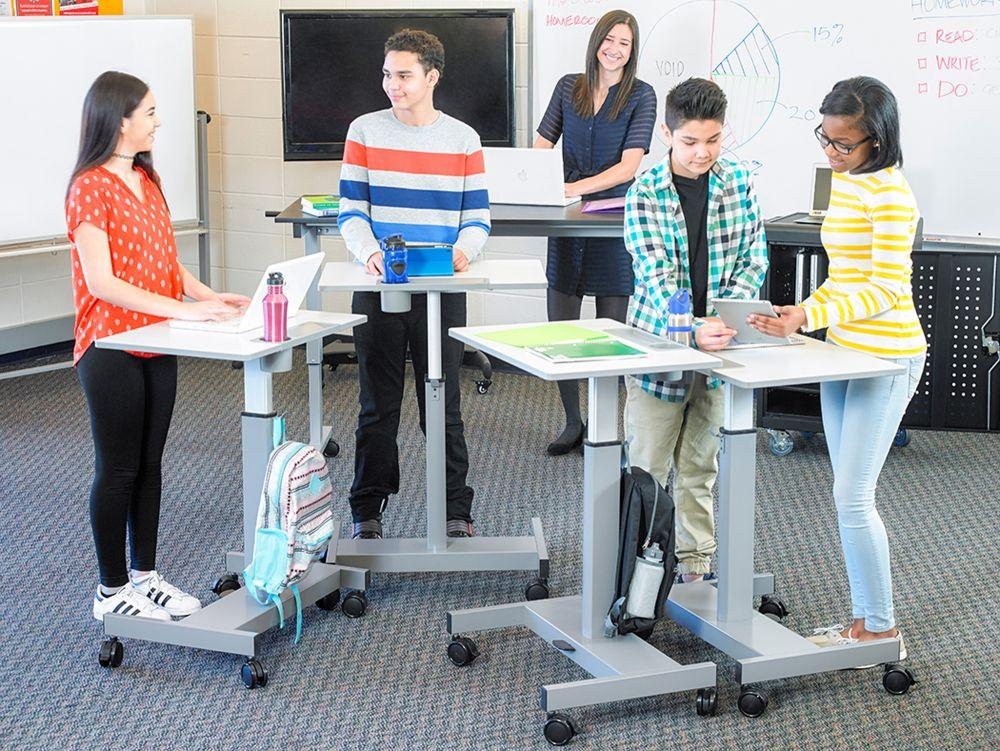 Adjustable student standing desk in classroom learning from Active Goods Canada