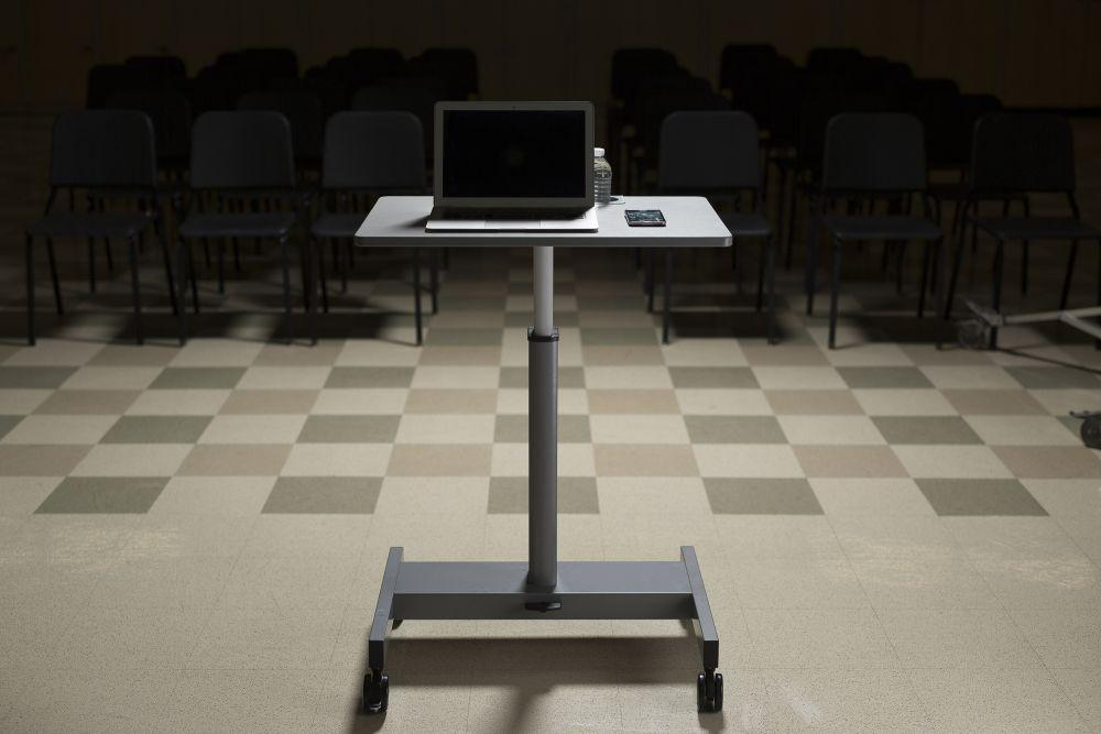 Luxor mobile Pneumatic Adjustable Desk for student presentation from Active Goods Canada