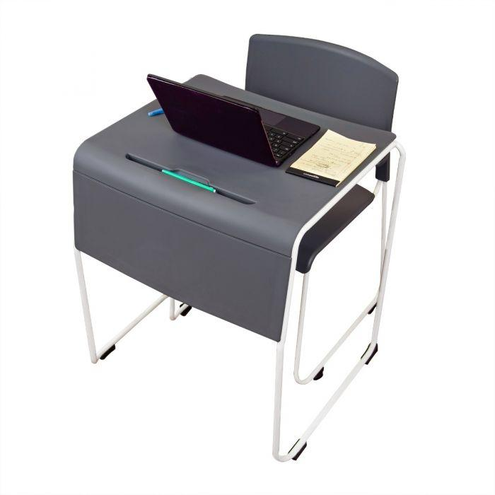 Luxor Lightweight Stackable Student Desk and Chair by Fitneff Canada - laptop and pen holder