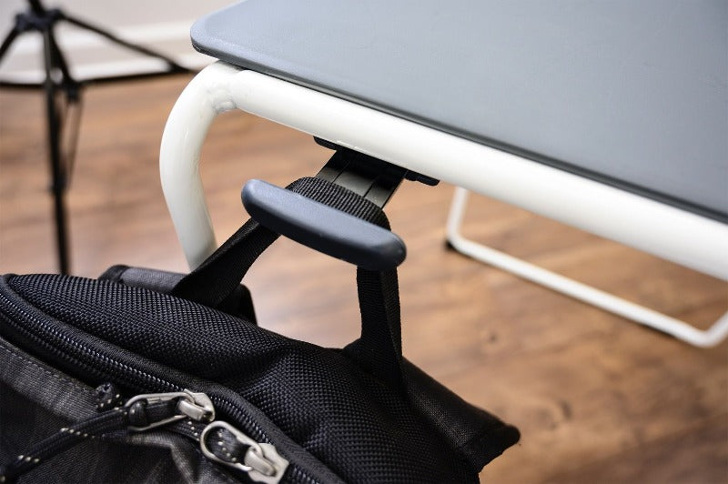 Bag holder on the Luxor Lightweight Stackable Student Desk and Chair by Fitneff Canada