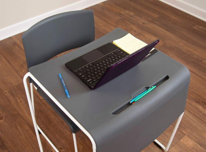 Luxor Lightweight Stackable Student Desk and Chair by Fitneff Canada featuring pen holder
