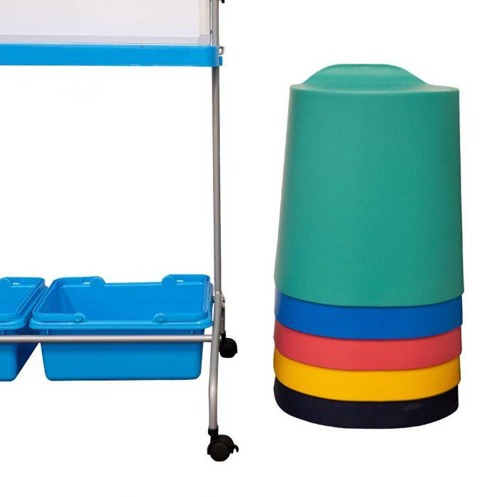 Luxor TailFin Plastic Stackable Stools from Active Goods Canada  - stacked 5 high