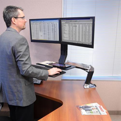 Ergotron WorkFit-A Sit-Stand Desktop WorkstationsErgotron WorkFit-A Sit-Stand Desktop Workstation with suspended keyboard from Active Goods Canada