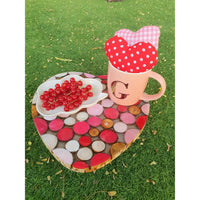 Heart Shaped Natural Wood Heart Tray with Pink Shades