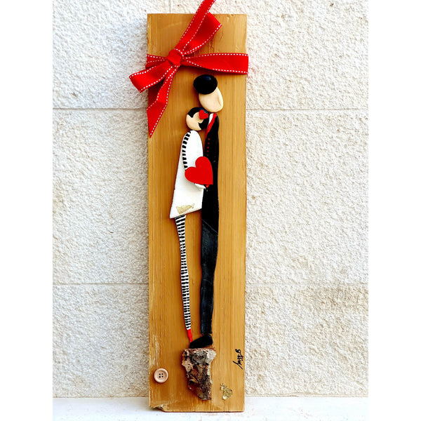 Handmade clay couple on natural wood board- Black and Red