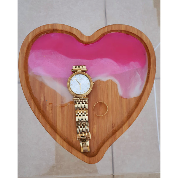 Heart Shaped Bamboo Plate with Pink Ocean