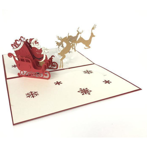Santa Sleigh Pop Up Card - NotInTheMalls