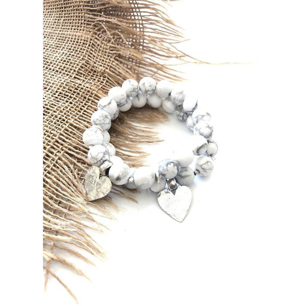 Howlite Hammered Heart Bracelet - NotInTheMalls