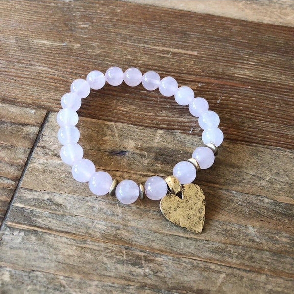 Rose Quartz Hammered Heart Bracelet - NotInTheMalls