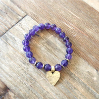 Amethyst Hammered Heart in gold/silver - NotInTheMalls