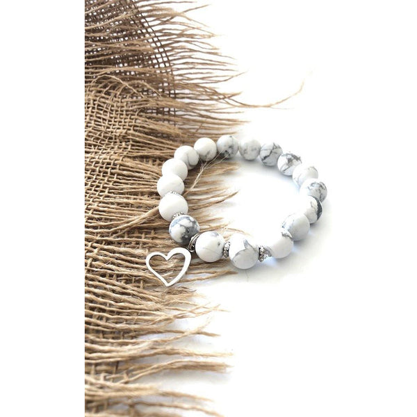 Howlite Open Heart Bracelet - NotInTheMalls