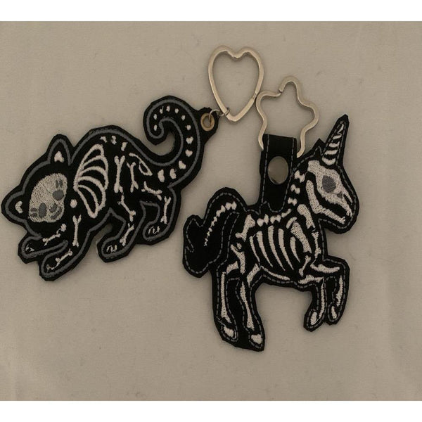 Skeleton Unicorn Or Cat Leather Keyring - NotInTheMalls