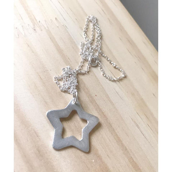 Large Silver Star Necklace