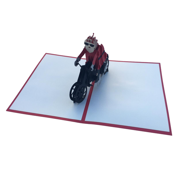 Santa on a Motorbike Pop Up Card - NotInTheMalls