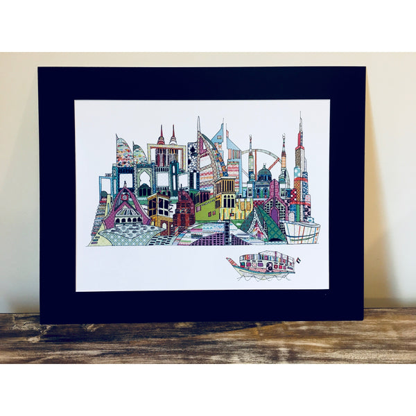 Patchwork Dubai Skyline Art Print - Coloured - A4 size - NotInTheMalls