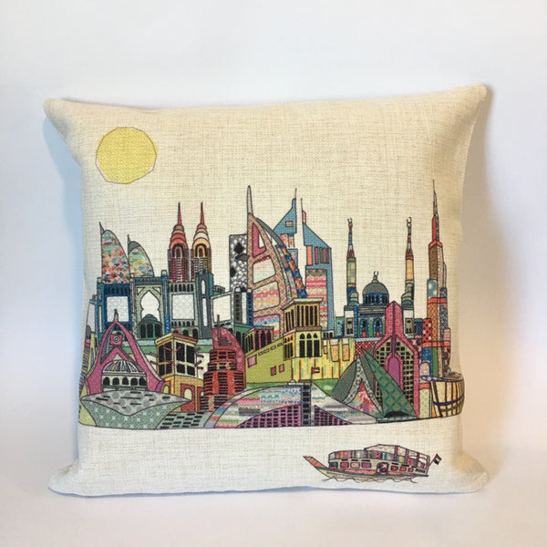 Patchwork Print Dubai Skyline Cushion - NotInTheMalls