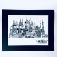 Patchwork Dubai Skyline Art Print - Black and White- A3 size - NotInTheMalls