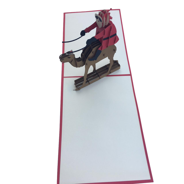 Santa on a Camel Pop Up Card - NotInTheMalls