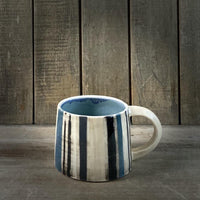 Blue, White and Black Stripe Mug - NotInTheMalls