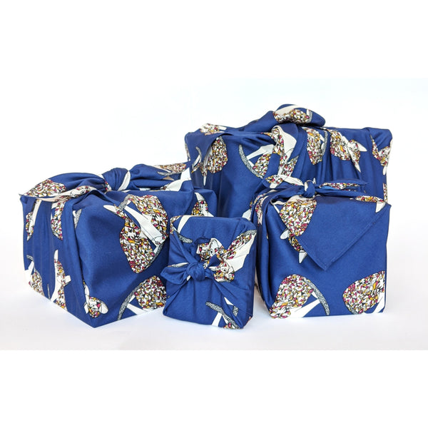 Navy Cat Satin Furoshiki Fabric Gift Wrap - NotInTheMalls