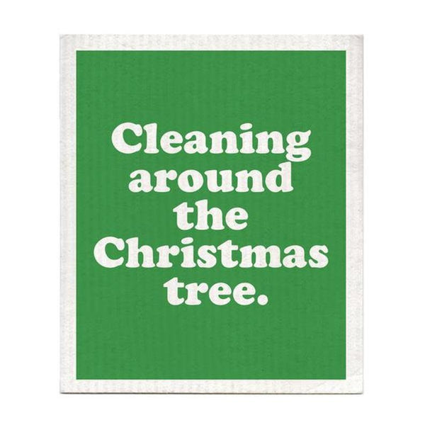 DISHCLOTH - CLEANING AROUND THE CHRISTMAS TREE