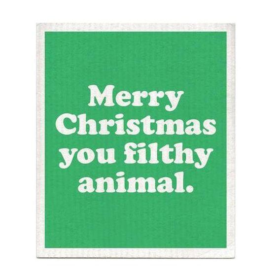 Load image into Gallery viewer, DISHCLOTH - MERRY CHRISTMAS YOU FLITHY ANIMAL