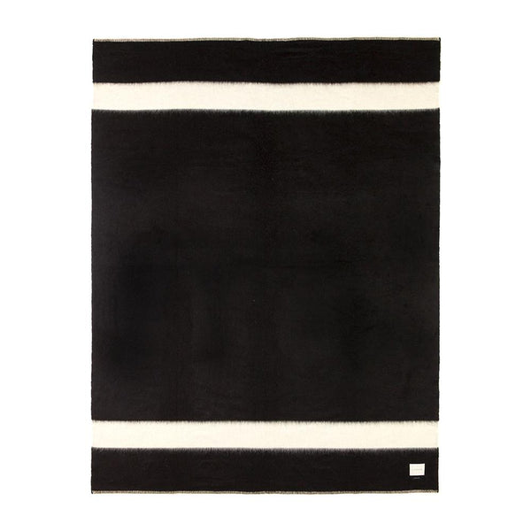 BLANKET - THE SIEMPRE RECYCLED - BLACK WITH  IVORY STRIPE