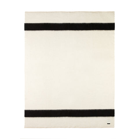 BLANKET - THE SIEMPRE RECYCLED - IVORY WITH BLACK STRIPE