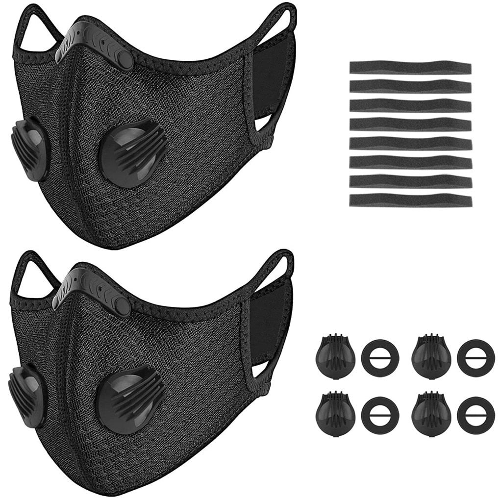 50 % OFF! 2 Reusable Sports Face Masks w/ 8 Washable Five-Layer Filters