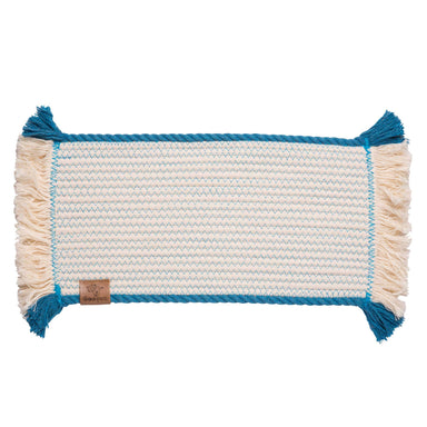 Pet Placemat Cotton Rope | Blue Trim