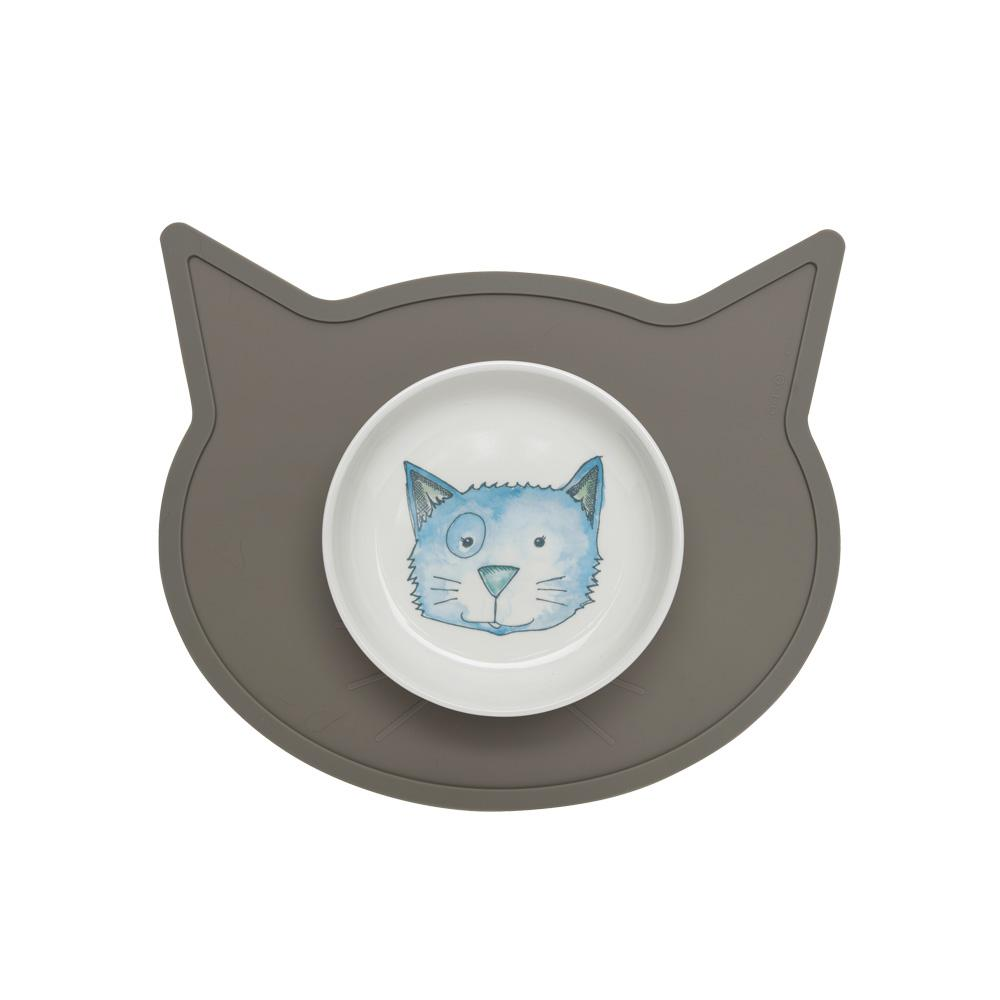 Silicone Placemat | Cat Head Warm Gray
