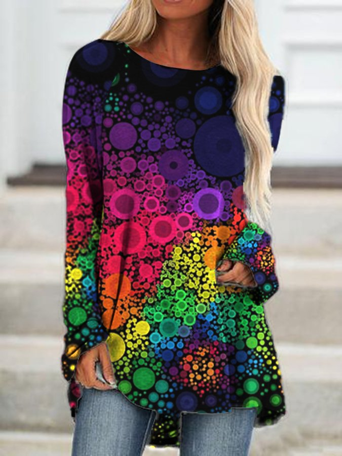 Seven Colors Geometric A-Line Crew Neck Long Sleeve Shirts & Tops