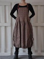 Brown Sleeveless Paneled Plain Shift Dresses