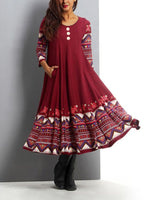 Wine Red Long Sleeve Swing Crew Neck Printed Dresses