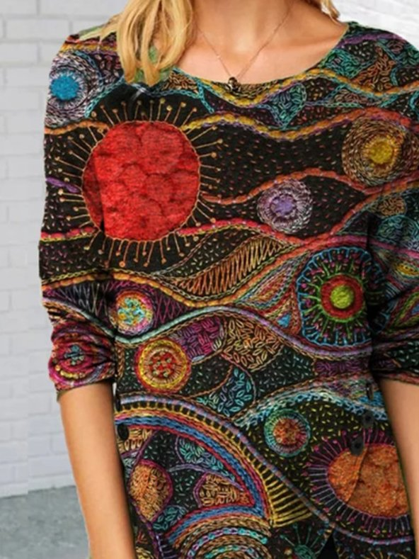 Red Floral Shift Long Sleeve Crew Neck Shirts & Tops