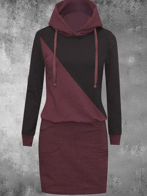 Wine Red Color-Block Sheath Long Sleeve Dresses