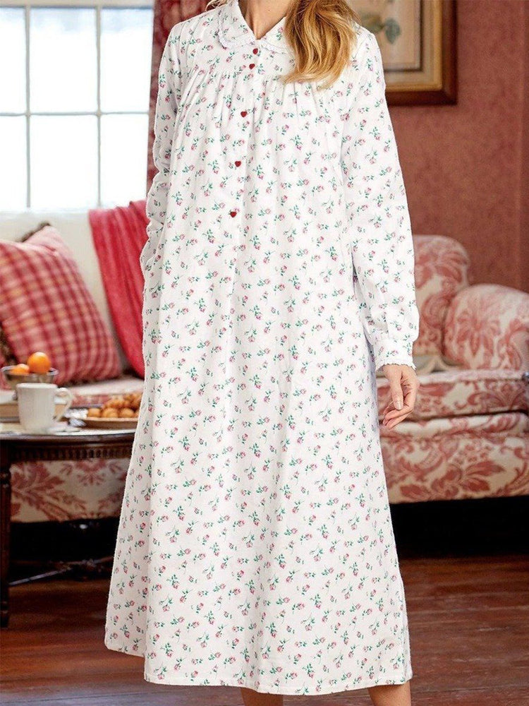Vintage Floral Printed Plus Size Long Sleeve Casual Dresses